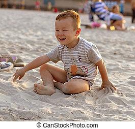 男の子, 浜, 遊び, 幸せ