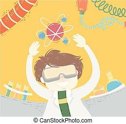 男の子, 浮き, イラスト, 科学者, 原子, 子供