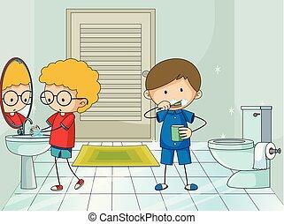 男の子, 浴室