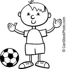 男の子, 漫画, ボール, ページ, 着色