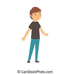 男の子, 漫画, 不満, イラスト, ベクトル, expresses, 何か