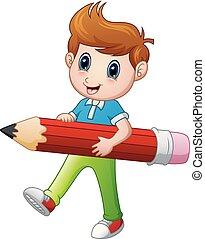 男の子, 漫画, 保有物, 鉛筆