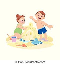 男の子, 漫画, 砂, 女の子, 浜, 遊び