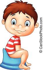 男の子, 漫画, potty, モデル