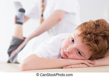 男の子, 物理療法, 疲れた, の間