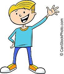 男の子, 特徴, 漫画, イラスト, 子供