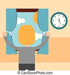 男の子, 現場, 朝, 見る, 窓, から