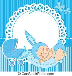 男の子, 生まれる, 衣装, 赤ん坊, うさぎ, カード