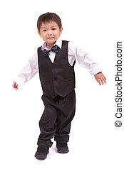 男の子, 白, スーツ