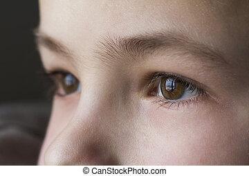 男の子, 目, マクロ, の上, 子供, 終わり