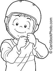 男の子, 着色, ページ, 子供, ヘルメット