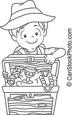 男の子, 着色, 宝物, 冒険, ページ, 子供