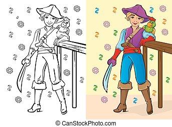男の子, 着色 本, 海賊, 衣装