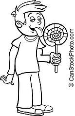 男の子, 着色, 漫画, lollipop