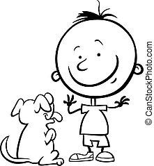 男の子, 着色, 犬, ページ, 漫画