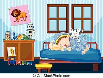 男の子, 睡眠, 寝室