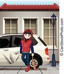 男の子, 窓, 衝突, 問題, 自動車