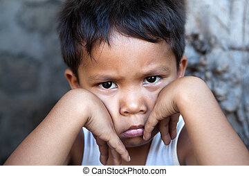男の子, -, 窮乏, 若い, フィリピン人