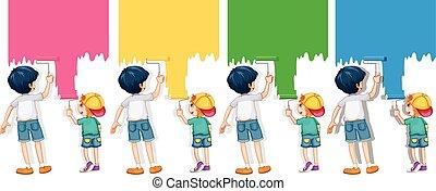 男の子, 絵, 壁