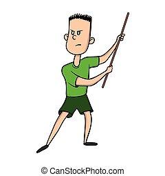 男の子, 練習する, イラスト, 隔離された, 戦争である, ベクトル, stick., kung, 人, fu., art., 漫画, white.