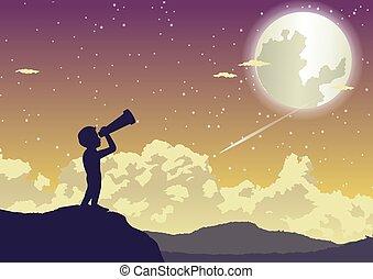 男の子, 美しい, 星, 見る, 夜