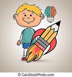 男の子, 考え, 脳