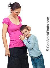 男の子, 聞きなさい, 彼女, 母, 妊娠した, おなか