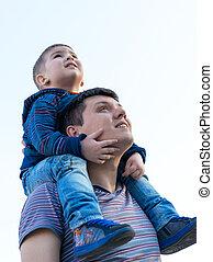 男の子, 肩, 彼の, モデル, 父, 小さい