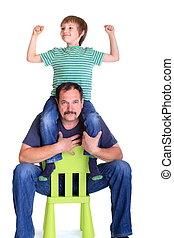 男の子, 肩, 父