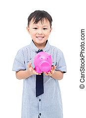 男の子, 背景, 上に, 若い, 小豚, 保有物, 白, 銀行, アジア人