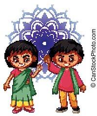 男の子, 背景, indian, mandala, 女の子, パターン