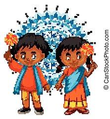 男の子, 背景, indian, mandala, 女の子
