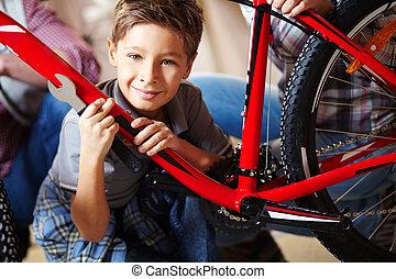 男の子, 自転車, 山