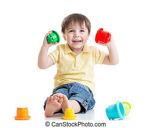 男の子, 色, おもちゃ, 子供, 微笑, 遊び