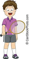 男の子, 芝生, テニス