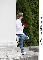 男の子, 花, 赤, 手