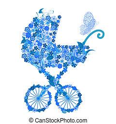 男の子, 花, stroller