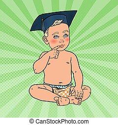 男の子, 芸術, concept., ポンとはじけなさい, 早く, 独身, ベクトル, イラスト, hat., 赤ん坊, 教育