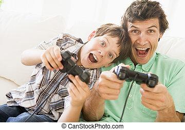 男の子, 若い, コントローラー, ゲーム, ビデオ, 微笑の人