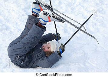 男の子, 若い, スキーをする, の上, 雪, フィート, クロスカントリー, ポーランド人, 純粋, 置かれた, 白...