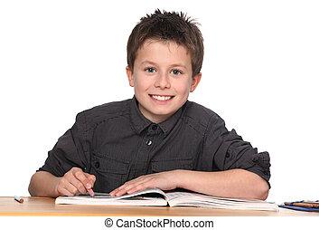 男の子, 若い, 勉強