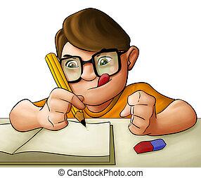 男の子, 若い, 宿題