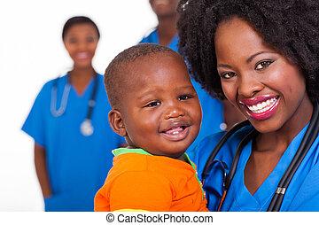 男の子, 若い, 届く, アフリカ, 赤ん坊, 看護婦