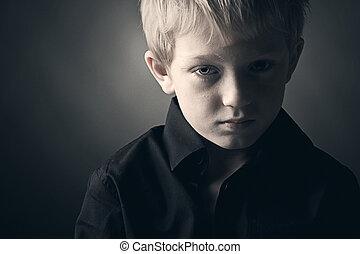 男の子, 若い, 悲しい