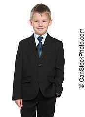 男の子, 若い, 黒いスーツ, 微笑, ハンサム