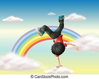 男の子, 虹, ダンス, 実行, 壊れなさい, 前方へ