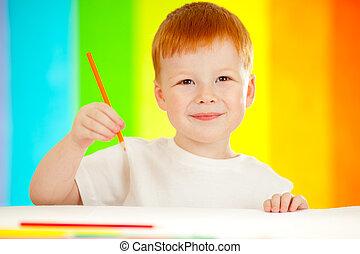 男の子, 虹, red-haired, 鉛筆, 背景, オレンジ, 愛らしい, 図画