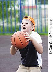 男の子, 行く, 投球, ボール
