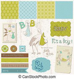 男の子, 要素, 発表, 型, -, デザイン, 赤ん坊, スクラップブック