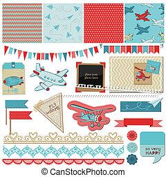 男の子, 要素, -, 飛行機, ベクトル, デザイン, 赤ん坊, スクラップブック